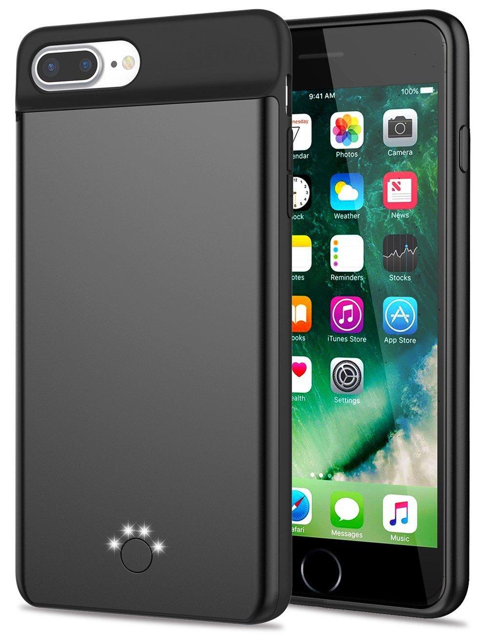 iPhone 8 plus/7 plus/6 plus/6S plus Battery Case,Emishine Ultra Thin Rechargeable Charging Case for iPhone 8 plus/7 plus/6 plus/6S plus Case Battery with 4000mAh (Black-5.5'')