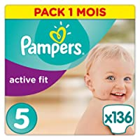 Pampers - Active Fit - Couches Taille 5 (11-23 kg) - Pack 1 mois (x136 couches)
