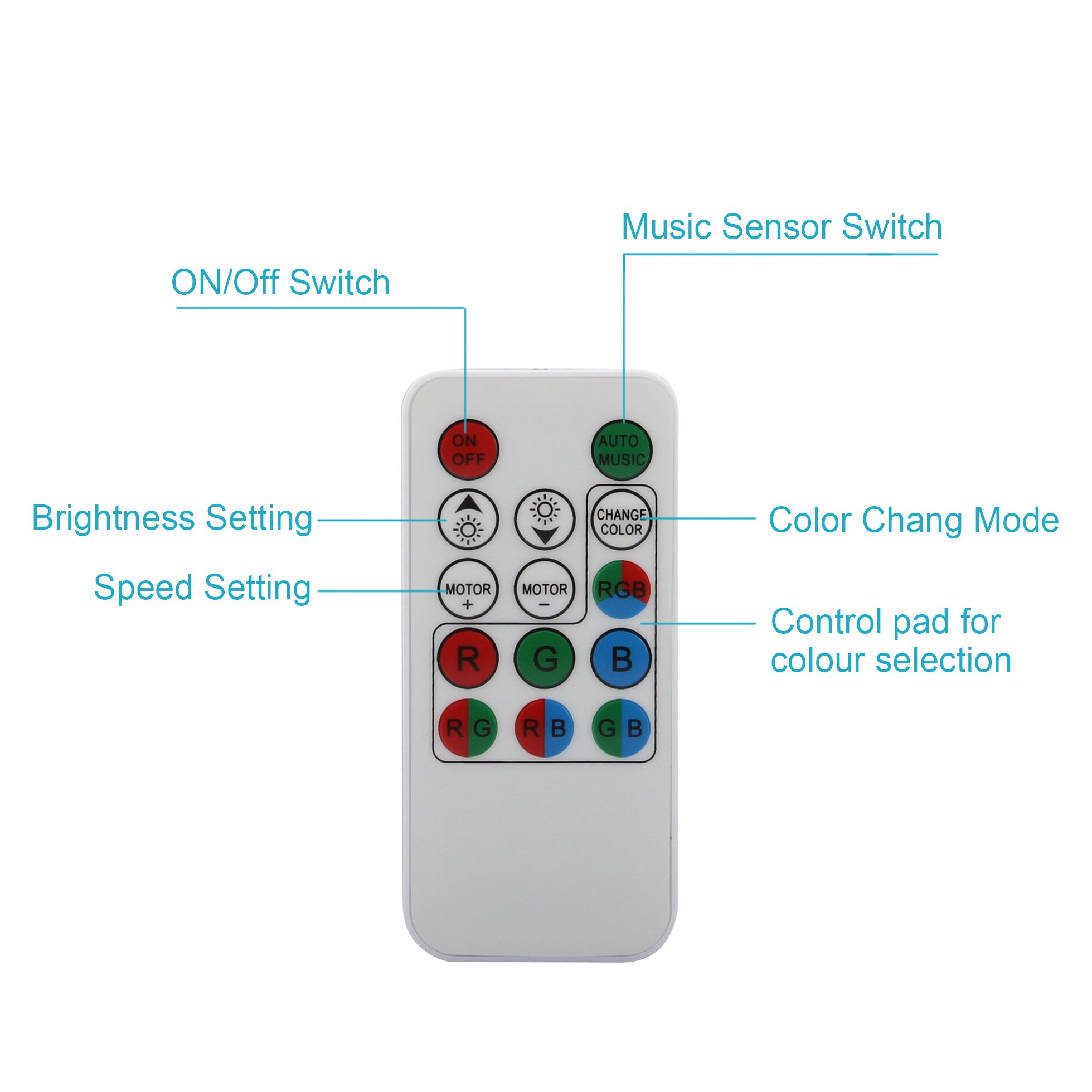 OTTFF 3W E27 Disco Ball Lamp RGB Rotating LED Sound Activated Strobe Lights Party Bulb Stage Light for Family Parties,Birthday,Desk Lamp with Remote Control by OTTFF (Image #8)