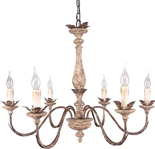 Rustic Wood Chandelier with 6 Candle Light, Royal French Country Wooden Chandelier Farmhouse Styel, Adjustable