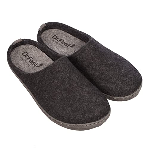 c462bf8e8b920 DR.FEET Unisex Natural Wool Felt Open Back Leather Sole > Indoor Slipper