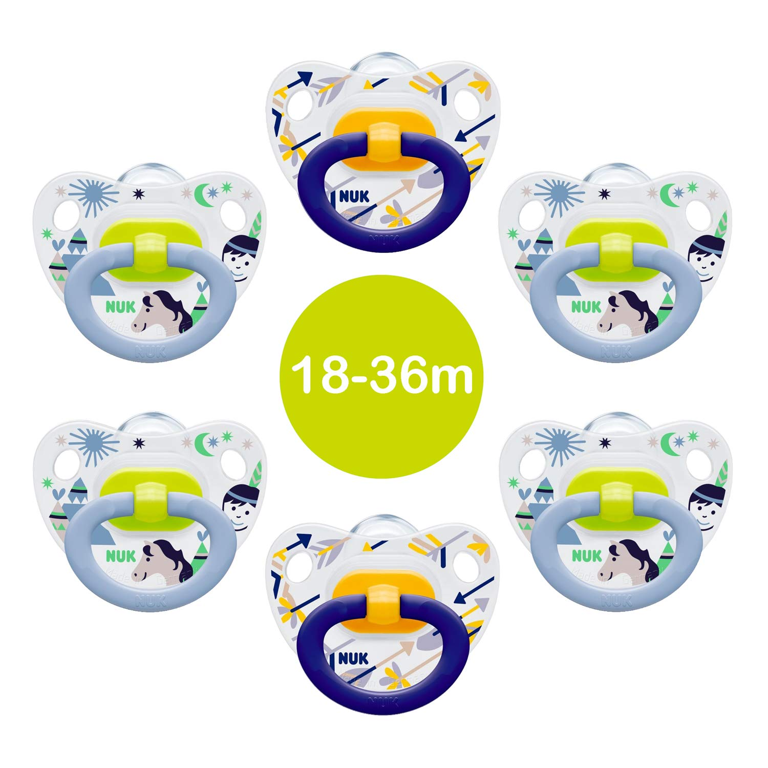 6 x NUK Happy Days BPA Free Silicone Dummy Soothers (Boys Set) - Flat Orthodontic Shape - Suitable for Babies Aged 18-36 mths. NUK Soothers
