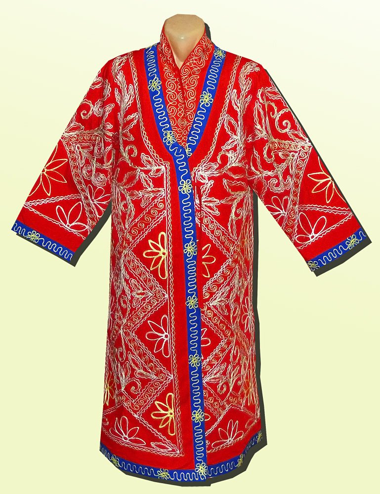 VINTAGE UNUSUAL UZBEK BEAUTIFUL SILK EMBROIDERED WEDDING ROBE A6787 by East treasures
