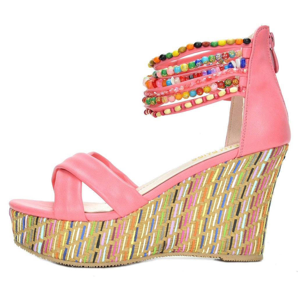 DREAM PAIRS Bling Women's Wedge Sandals Pearls Across The Top Platform High Heels Coral Size 8.5 by DREAM PAIRS (Image #4)