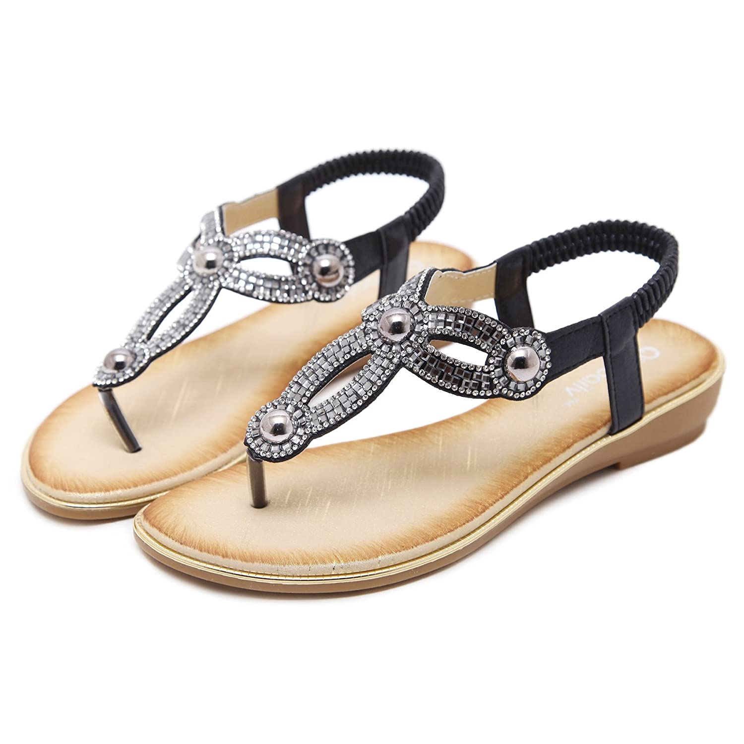 34797b34b884 Amazon.com  Meeshine Womens Summer Thong Flat Sandals T-Strap Bohemian  Rhinestone Slip On Flip Flops Shoes  Shoes