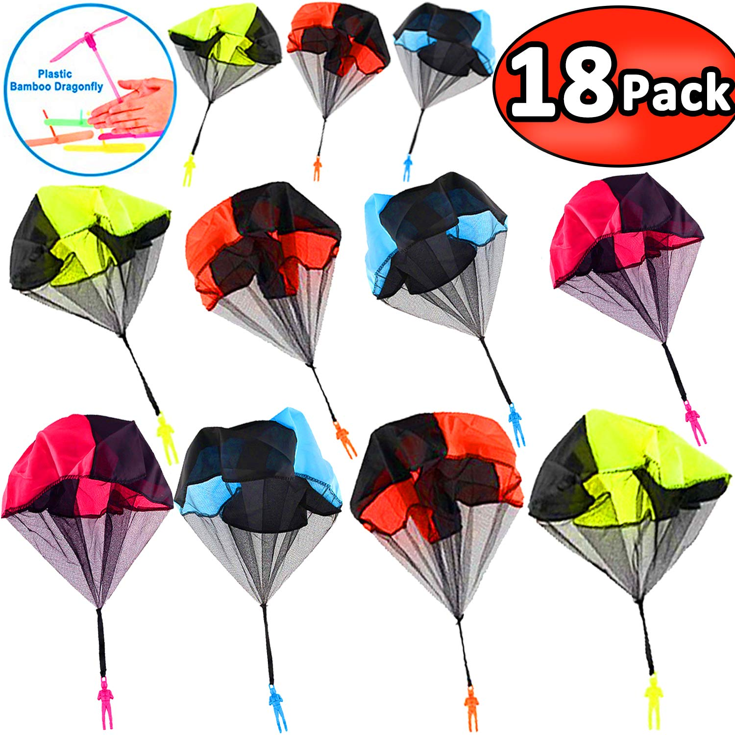 18 Pack Parachute Toys - Party Favors for Kids Flying Toys Parachute Army Men Parachute Tangle Free Throwing Parachute with Launcher Soldier Skydiver Hand Throw Sports & Outdoor July Deals