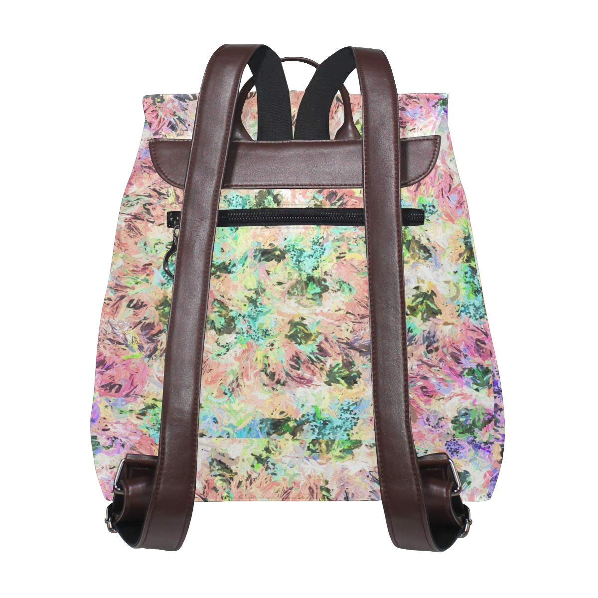 PU Leather Shoulder Bag,Abstract Flowers Leaves Pattern Backpack,Portable Travel School Rucksack,Satchel with Top Handle