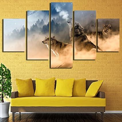 Amazon.com: 5 Panel Animal Pictures Wall Decor Canvas Prints ...