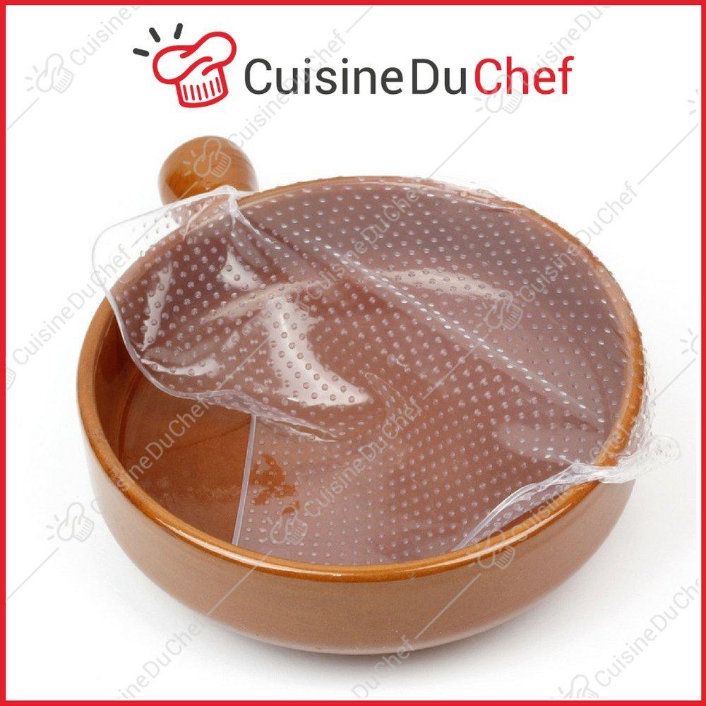 ✮ CuisineDuChef ✮ Film étirable en silicone alimentaire   Lot de 4   Réutilisables et extensibles   Conservation aliments   Set de couvercles hermétiques   Frigidaire, congélateur, mi
