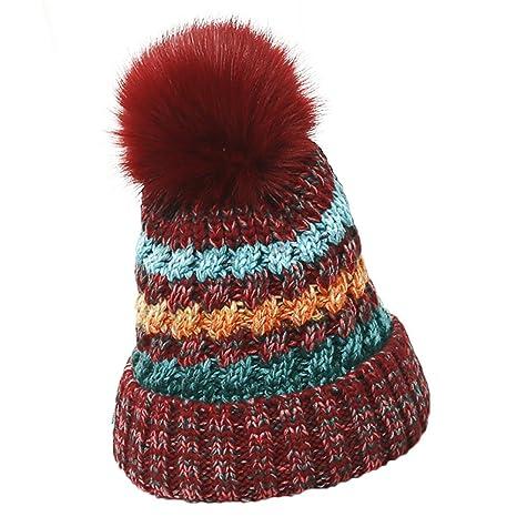 fablcrew mujeres Beanie gorro de punto con pompón gorro de lana para  Snowboard gorro de sombreros 29b59f67377