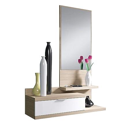 Habitdesign 016744W – Mobile da ingresso Dahila con cassetto e specchio,  mobili d\'ingresso in colore Bianco Brillante e Natura, misure: 116 cm ...