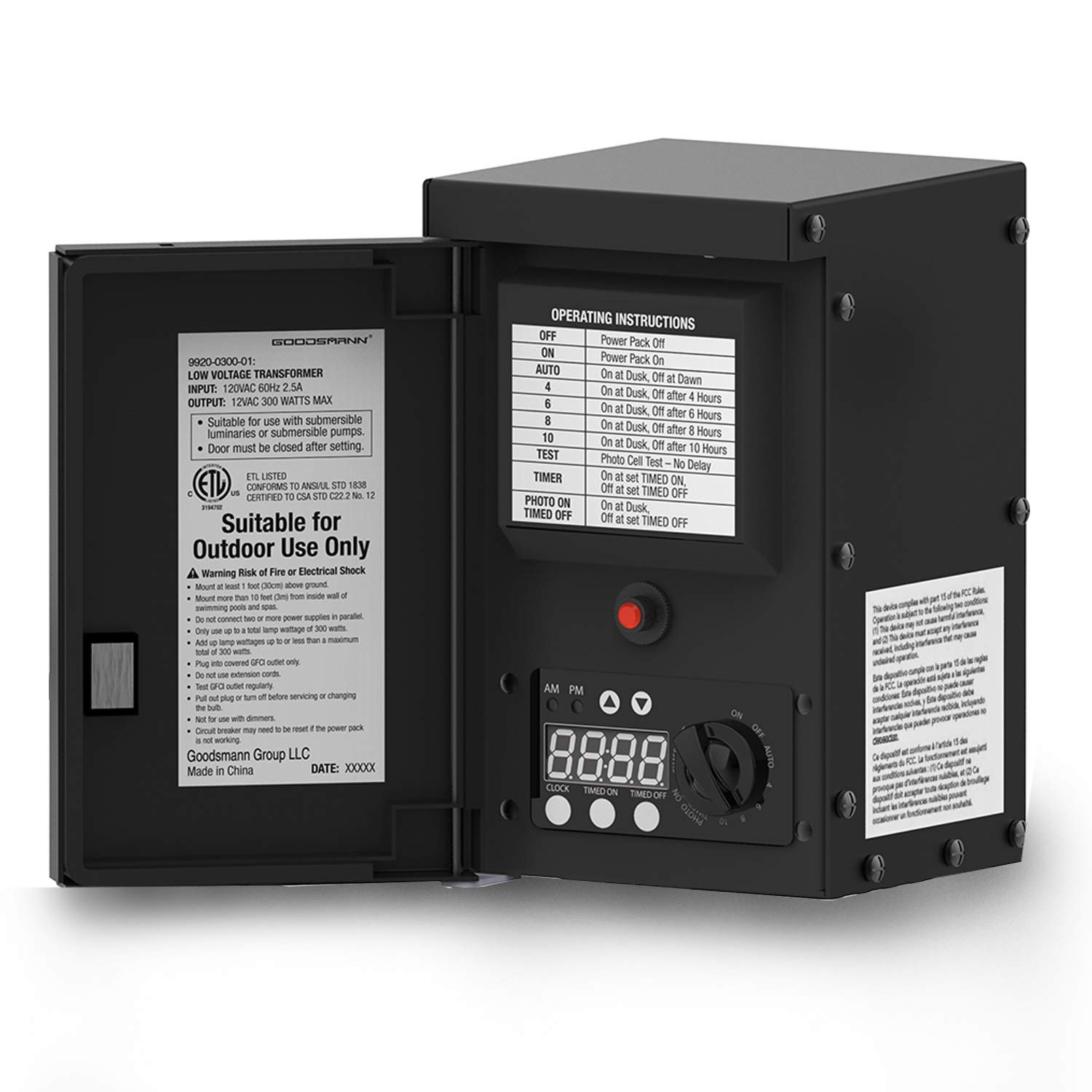GOODSMANN 300 Watt Power Pack with Sensor and Weather Shield for Low Voltage Landscape Lighting and Spotlight Outdoor Transformer 120V Input 12V Output Compatible with Malibu Products 9920-0300-01