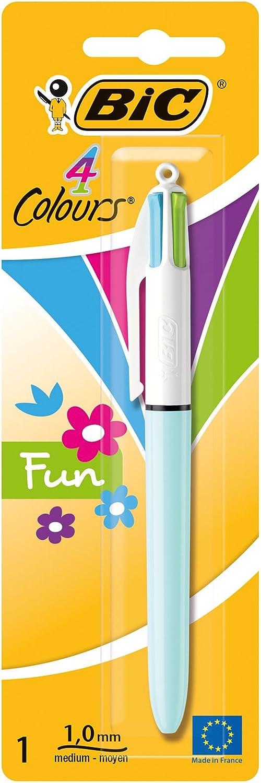 BIC 4 colores Fun Bolígrafo Retráctil punta media (1,0 mm) – Cartuchos de Tinta Multicolor, 1 Unidad