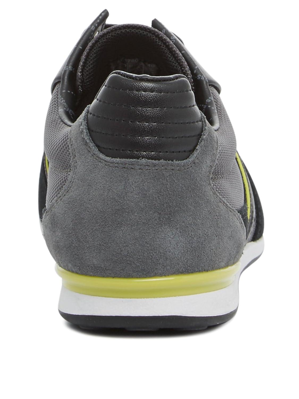 Hugo Boss 10167168 - Tobillo bajo de Piel Hombre, Color Gris, Talla 44 EU: Amazon.es: Zapatos y complementos