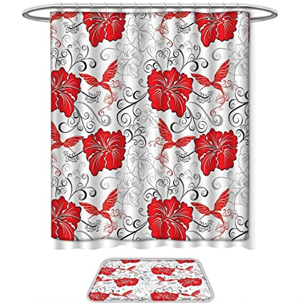 QINYAN Home Print Bathroom Rugs Shower Curtain Hawaiian Decorations Patterns With Hibiscus And Hummingbirds Ornamental