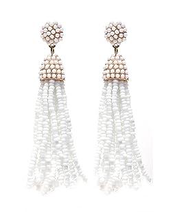 NLCAC Women's Beaded tassel earrings Long Fringe Drop Earrings Dangle White