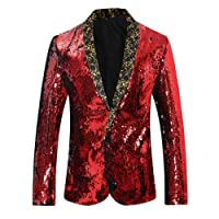 Allthemen Mens Shawl Lapel Sequin Blazer Long Sleeve Glittery Outerwear Stand Out