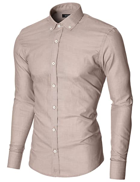 MODERNO Mens Dress Shirts Slim Fit Long Sleeve Contrast White Buttons (MOD1459LS) Beige US S at Amazon Mens Clothing store: