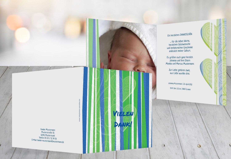 Kartenparadies Danksagung für Geburt Baby Dankeskarte hearts and stripes, hochwertige Danksagungskarte Baby inklusive Umschläge   100 Karten - (Format  145x145 mm) Farbe  Grasgruen B01N5V8NHM | Outlet  | Um Eine Hohe Bewunderung Gewinnen Und Is