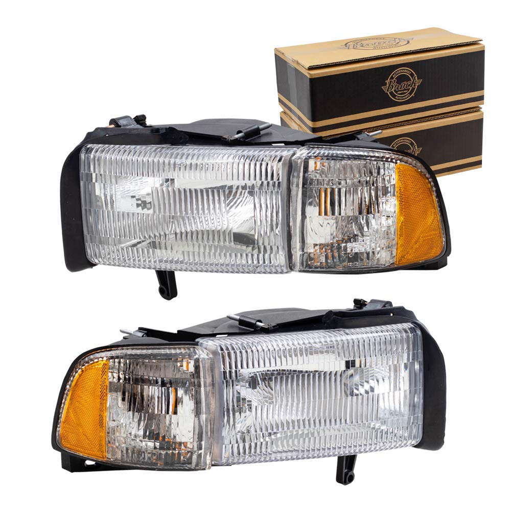Brock Replacement Set Driver and Passenger Halogen Headlights with Corner Lamp Compatible with 1994-2002 Pickup Truck 55076749AD