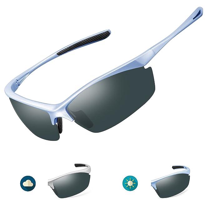 2155bdadeb IALUKU Polarized Sports Sunglasses for Men Outdoor Photochromic Frame  Semi-rimless Glasses Cycling Running Driving