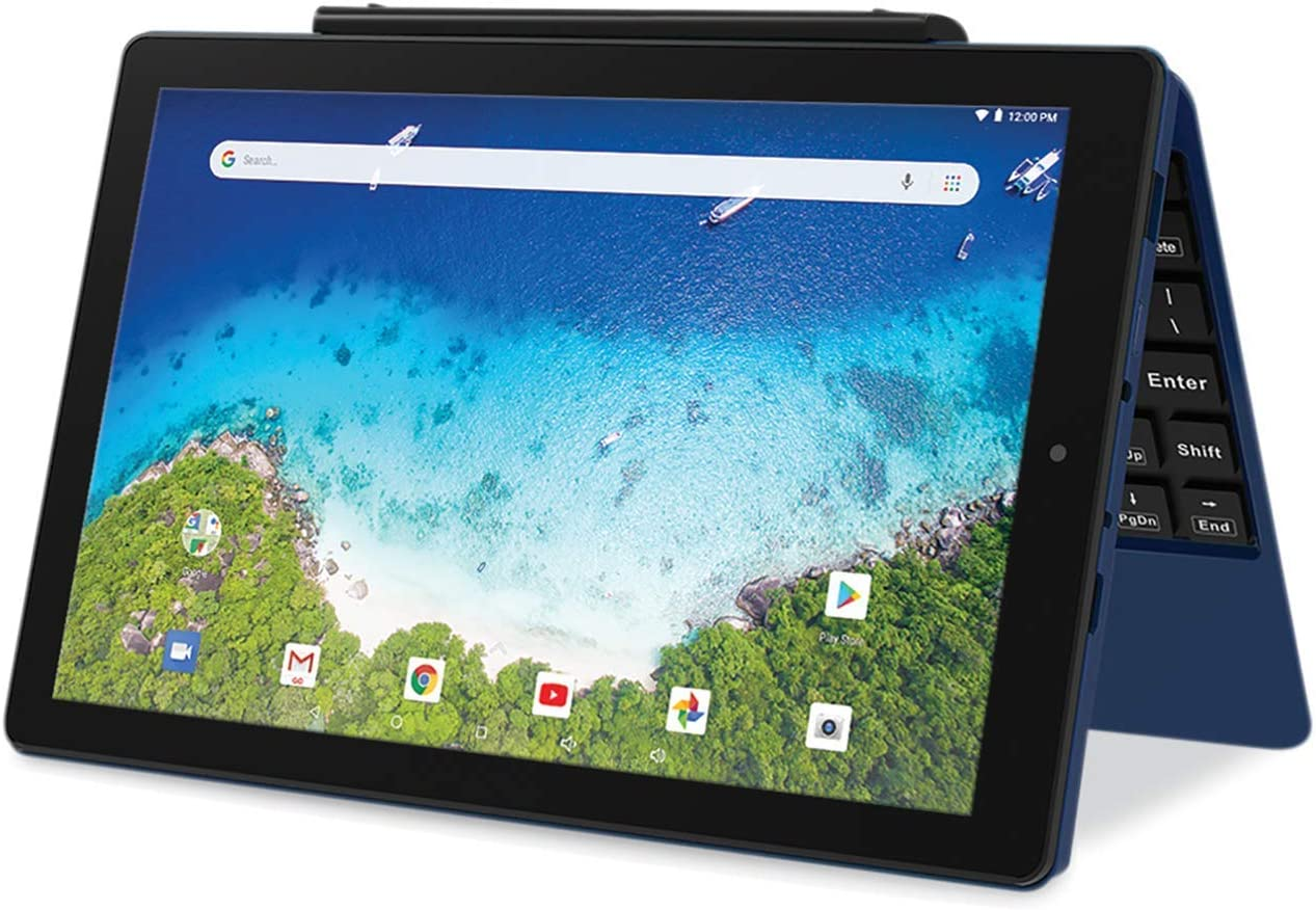 Renewed Newest High Performance RCA Viking Pro 10.1 inches 2-in-1 Touchscreen Laptop Computer Tablet Quad-Core 1G Memory 32GB Hard Drive Detachable-Keyboard Android 8.1 Blue
