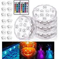 Luz sumergible, 4PCS Piscina Luces LED 16 ventosas 2 RGB mando distancia, Lluminación para estanque, Base de jarrón…