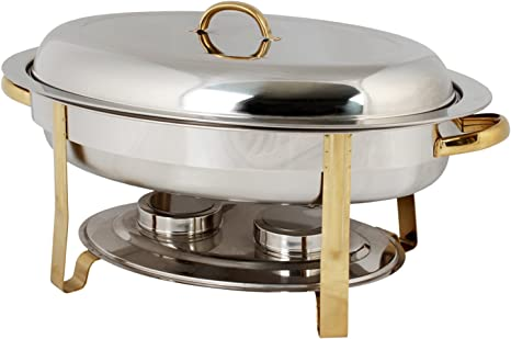6-Quart Gold-Accented Stainless Steel Oval Chafer Winco 202