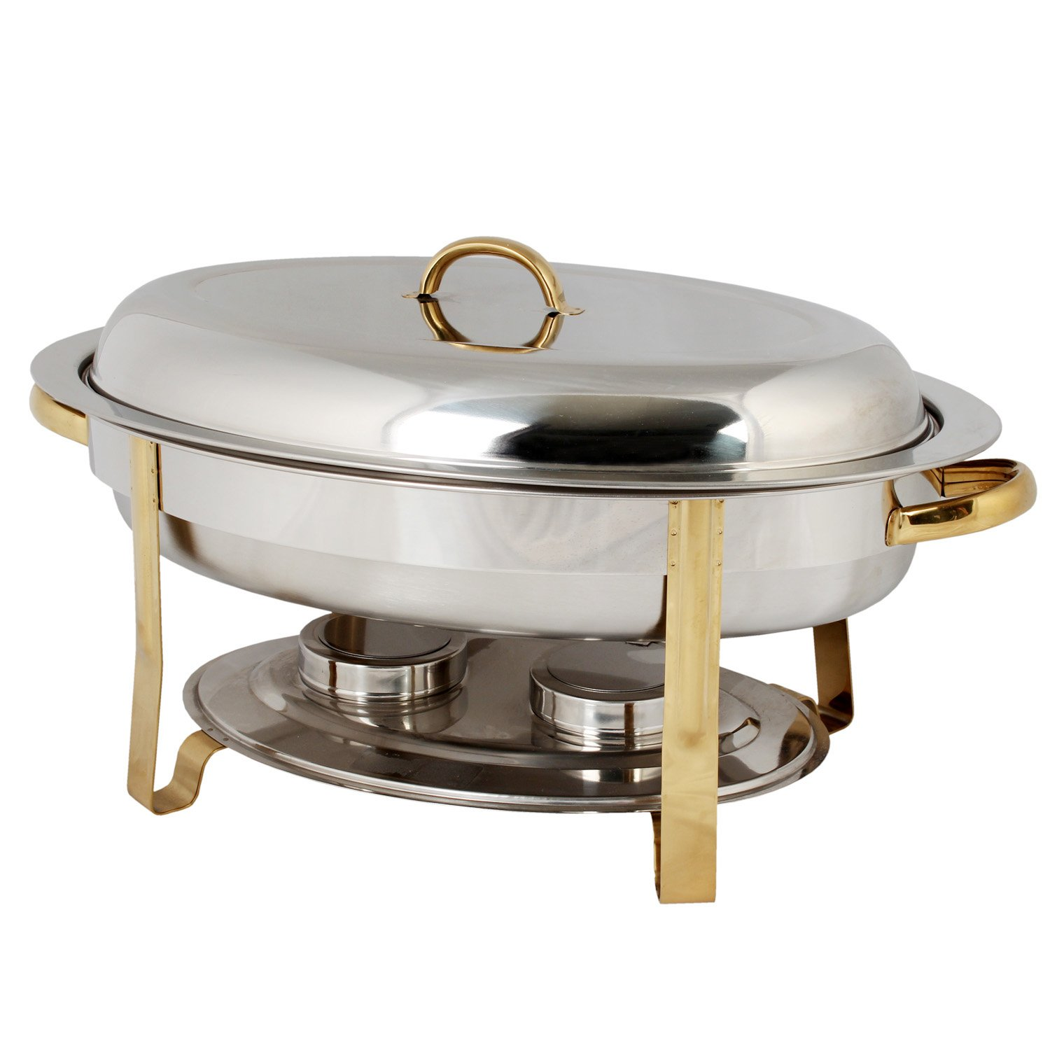 Excellante Stainless Steel 6-Quart Gold Accented Oval Chafer Thunder Group SLRCF0836GH