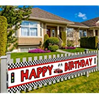 Lager Race Car Happy Birthday Banner, Red Racing Themed Party Supplies & Decoration Backdrop Background Photo Booth…