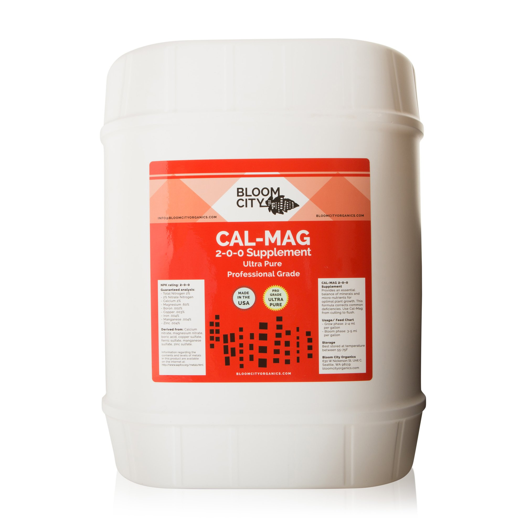 Bloom City Professional Grade Ultra Pure Cal-Mag Growing Supplement 5 Gallon (640 oz) by Bloom City