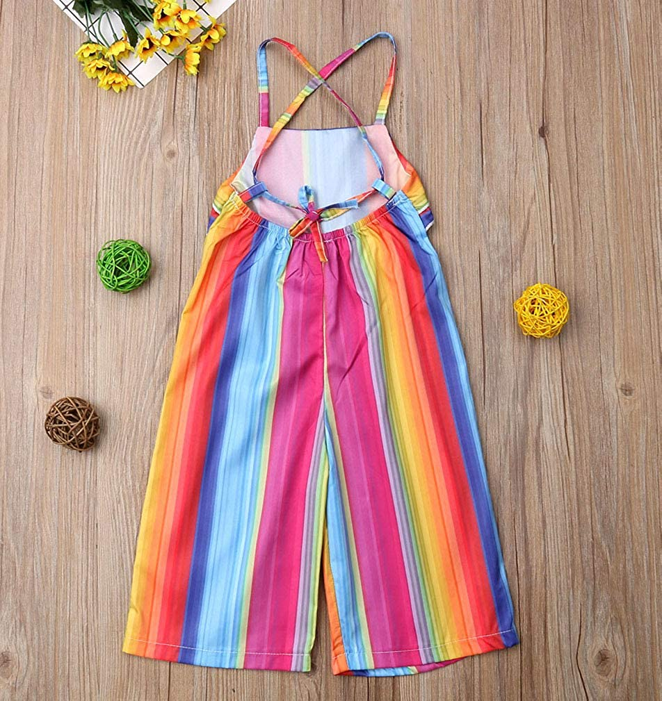 Toddler Baby Girls Rainbow Colorful Sleeveless Halter Backless Ruffle Flare Wide Leg Jumpsuit Romper Overalls Pants Outfits