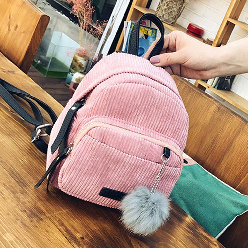Shoulder Bags, Backpacks for Woman Girl Vintage Corduroy Travel School Bag Cute Striped Pompon Backpack (Pink) by Euone_Bag (Image #3)