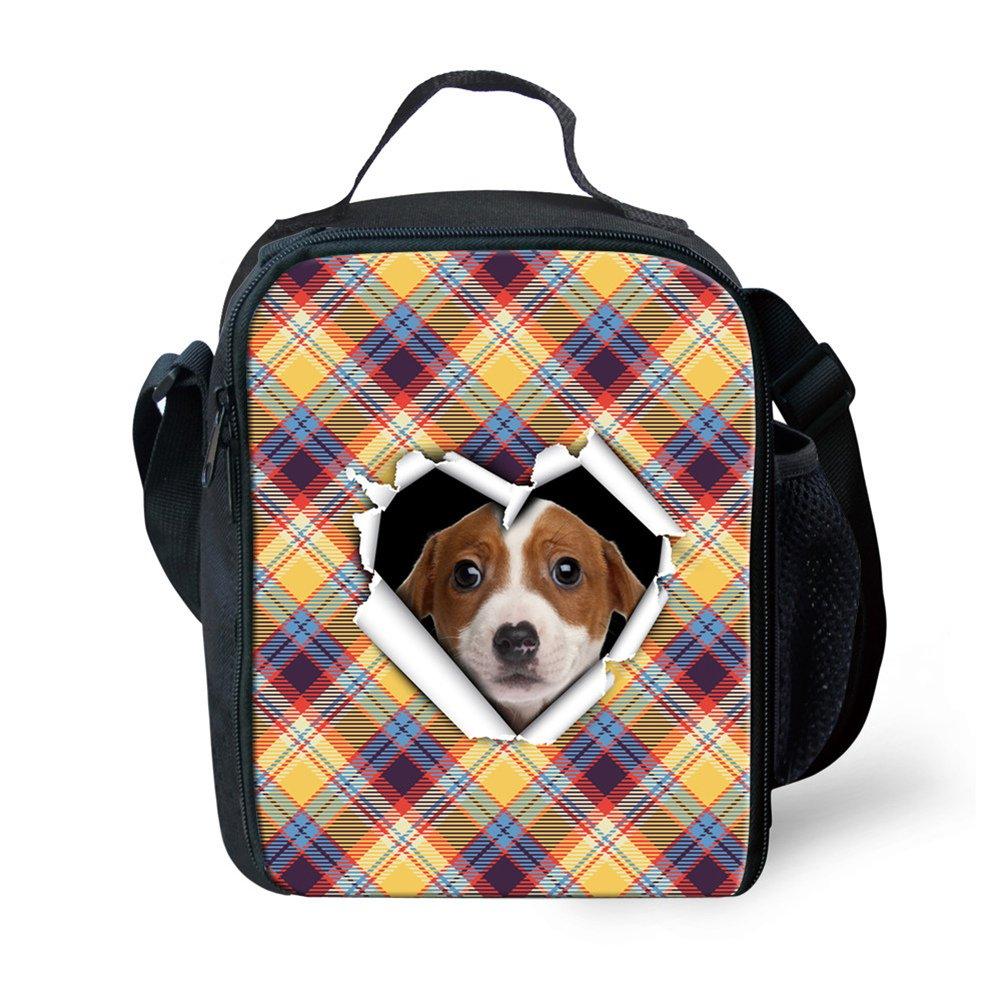mumeson Insulated Lunchバッグキッズランチボックス学校少年少女の動物格子柄デザイン  Plaid Dog B0785YTHJC