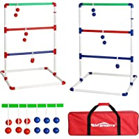 Win SPORTS Indoor/Outdoor Ladder Toss Game Set - Ladder Ball Toss Game with 6 Weighted Bolos, Carrying Case and Sand Weighted PVC Piping (red/Blue/Green)