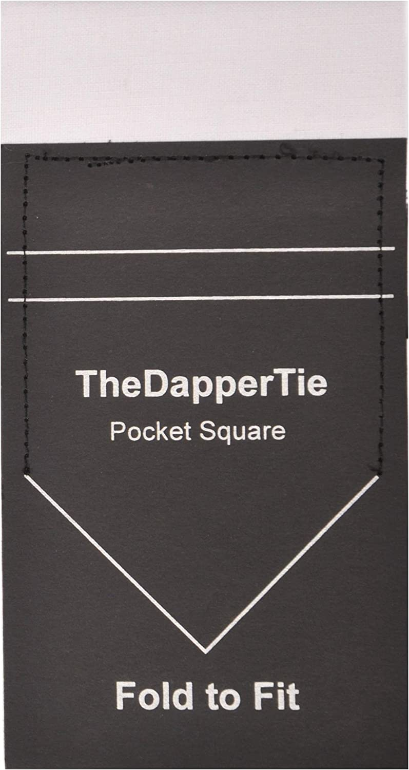 TheDapperTie Mens Extra Thick Cotton Flat Pre Folded Pocket Square on Card