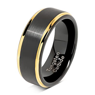 100s Jewelry Tungsten Rings For Men Two Tone Black Gold Wedding Band