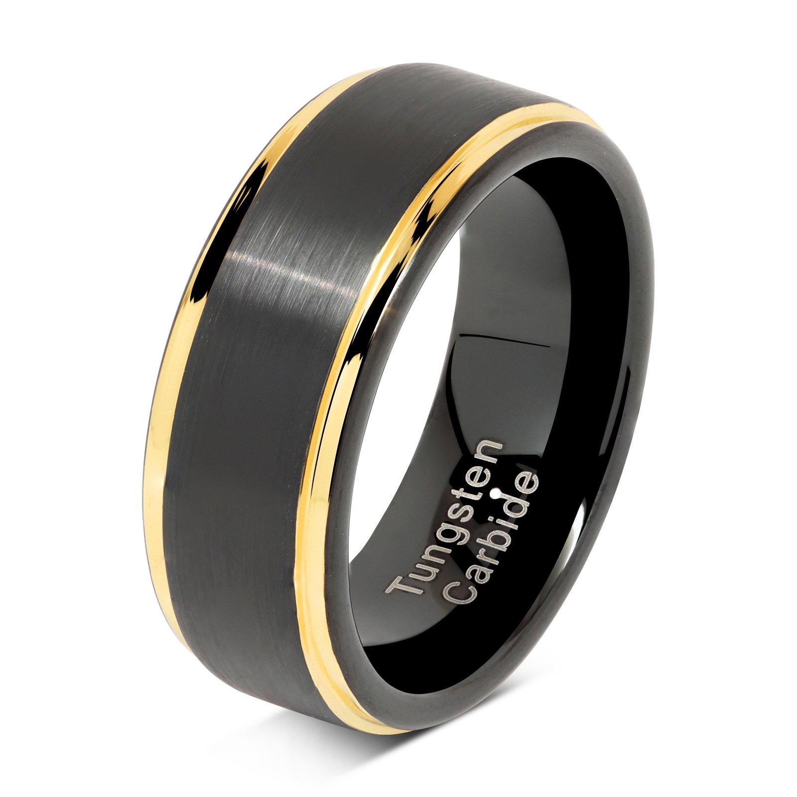 100S JEWELRY Tungsten Rings For Men Two Tone Black Gold Wedding Band Center Brushed Engagement Size 8-16 (10)