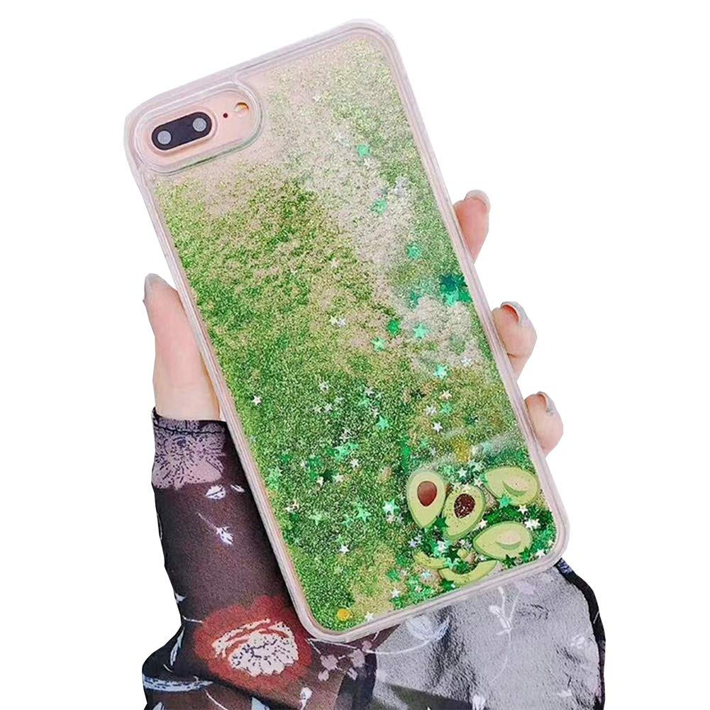 SGVAHY Liquid Quicksand Case for iPhone 7 Plus Glitter Shinny Sequins Cosmetic Patterned Soft TPU Bumper Hard Back Shockproof Protective Case for iPhone 8 Plus(Avocado, iPhone 7 Plus / 8 Plus)