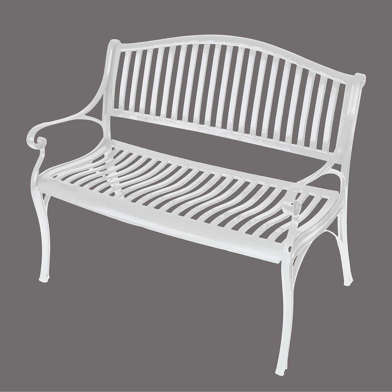 Gartenbank NAPOLI 2-Sitzer, wetterfester Aluguss, Farbton: weiß