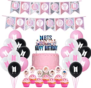 BTS Birthday Party Supplies includes Banner - Cake Topper - 21 Cupcake Toppers - 20 Balloons For Girl