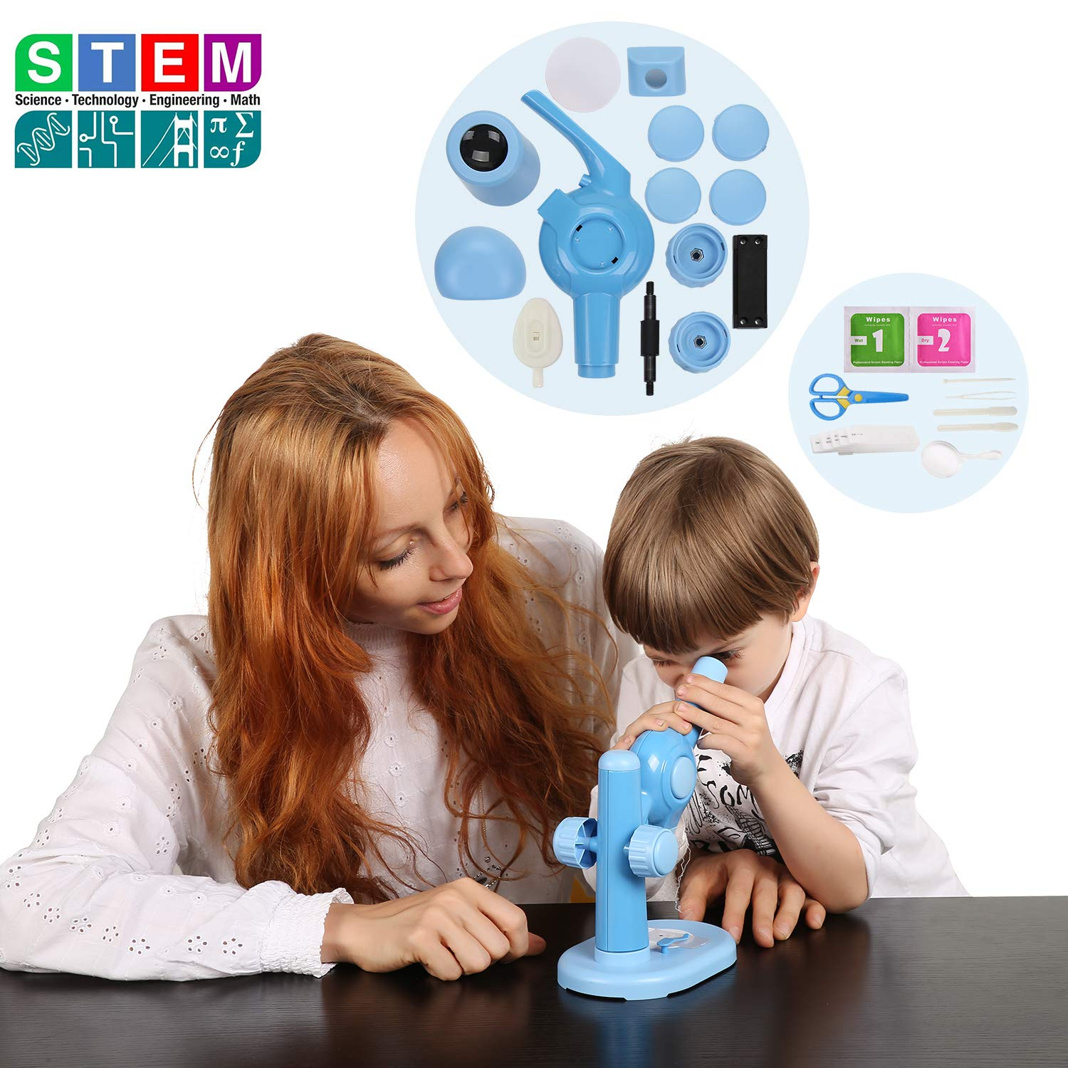Donzy Take Apart Microscope Toy - Educational DIY STEM Microscope for Preschoolers with Assemable Parts, 15X Science Microscope Take Apart Toy with 5 Prepared Slides for 4-8 Year Old Kids (Blue)