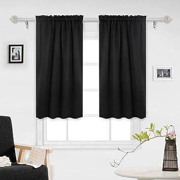 Deconovo Black Blackout Curtains Rod Pocket Curtain Panels Room Darkening For Window 52 W X