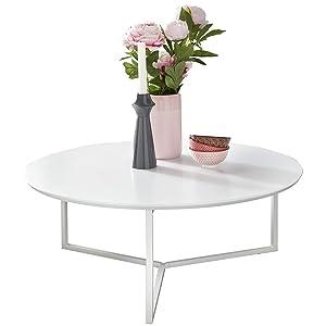 Wohnling Design:tavolino da Salotto in Legno MDF Bianco Opaco, Struttura in Metallo, ø 80 cm, tavolino da Salotto, tavolino da Salotto Moderno, tavolino da caffè Rotondo Lounge
