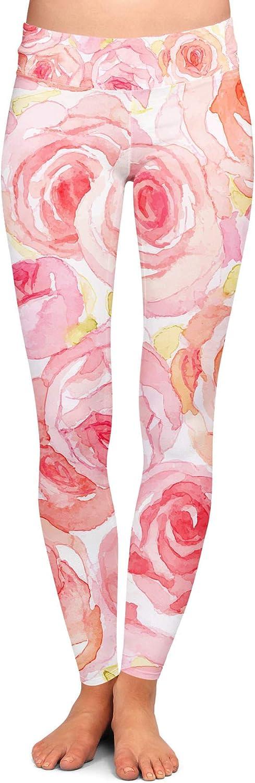 Queen of Cases Watercolor Roses Yoga Leggings Full Length Low Waist