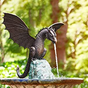 Water Spray Dragon,Fire-Breathing Dragon Sculpture,Resin Waterscape Sculpture, Suitable for Gardens, Patios, Fountain Centres or Pool Decorations (A)