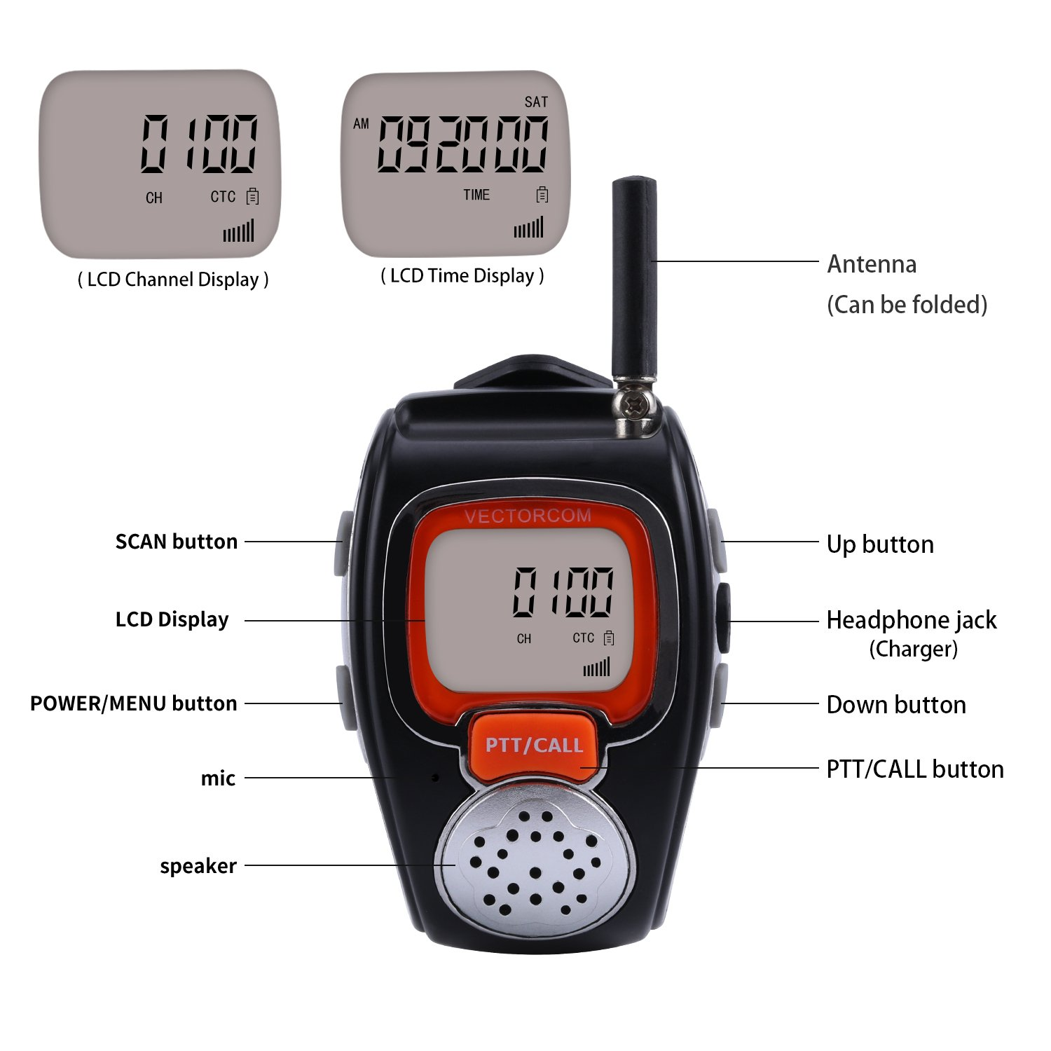 Amazon.com: Portable Digital Wrist Watch Walkie Talkie Two-Way Radio for  Outdoor Sport Hiking, 462MHZ, black, 2pcs: Cell Phones & Accessories