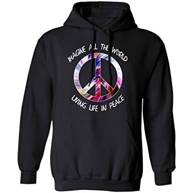 521b560c0ab3 Amazon.com: Imagine All The World Living Life in Peace tie dye Hippie Style  t-Shirt Hoodie: Clothing