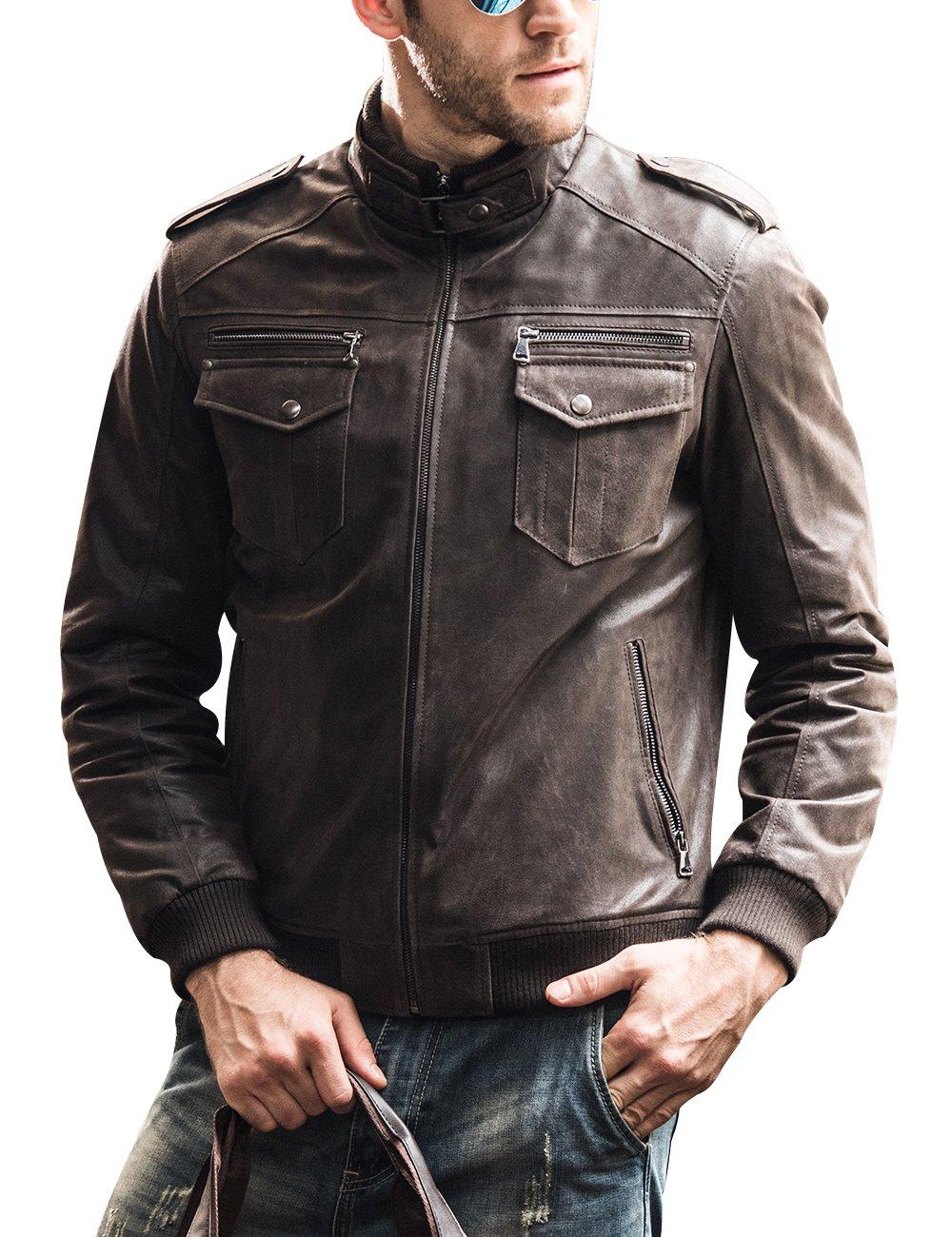 FLAVOR Men Biker retro Brown Leather Motorcycle Jacket Genuine Leather jacket (CN Small(US Medium), Dark Brown)