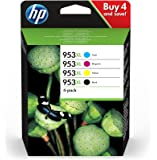 HP 3HZ52AE 953XL High Yield Original Ink Cartridges, Black/Cyan/Magenta/Yellow, Pack of 4